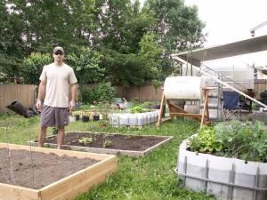 Sustainable Craig in backyard