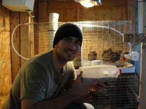 sustainable craig with the quail feeder prototype