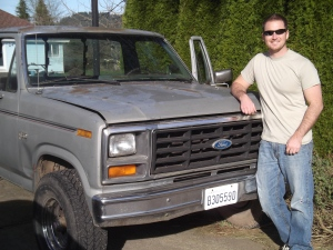 craig with beater truck